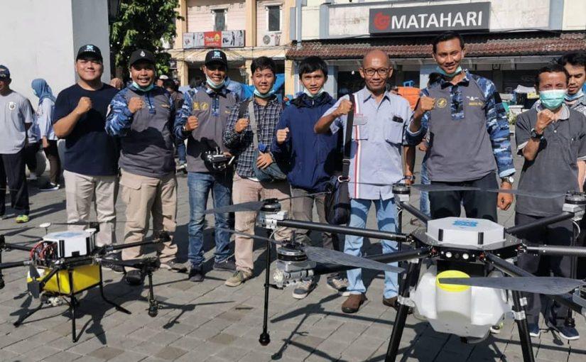 Drone Sprayer Sebarkan Disinfektan di Malioboro